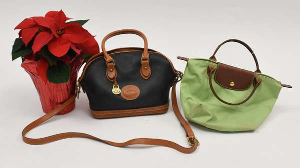 Dooney & Bourke leather dome satchel bag along with a lime green Longchamps bag (297-40)