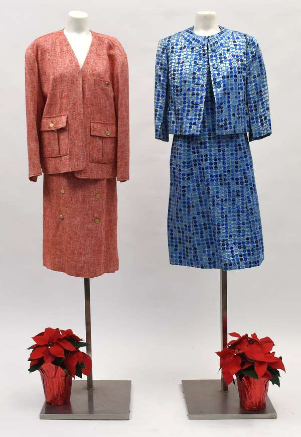 Chanel Boutique, Paris France, skirt and jacket in rose/white knobby fabric, size 44, along with a Sophie of Saks Fifth Avenue two piece dress and jacket in blue/turquoise (518-43)