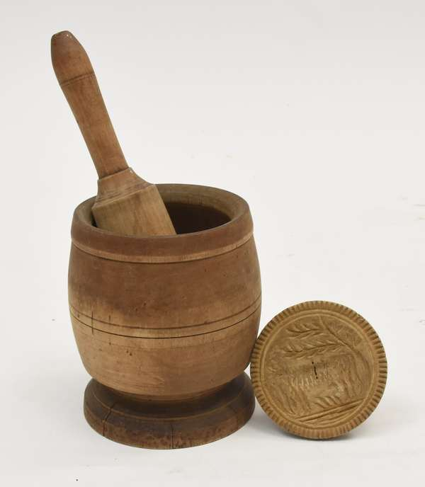 Mortar & pestle with cow butter stamp-Posner (600-3)