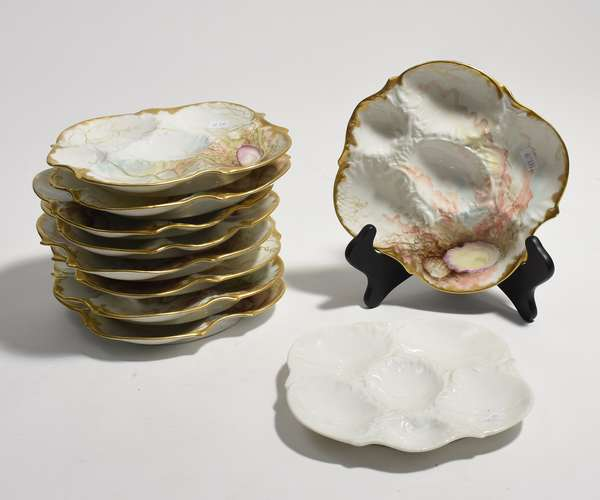 """Ten Limoges oyster plates 8""""Dia. (561-19)"""