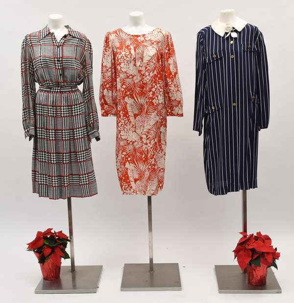 """Adolpho, New York """"A"""" navy and white striped silk dress with gold buttons; a Yves Saint Laurent red and white dress, along with a Adolpho, New York black, white, and red silk blouse & skirt (518-44)"""