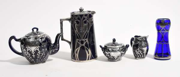 Five pieces of silver overlay glass including teapot (561-22)