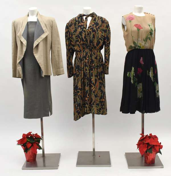 Pauline Trigere Saks Fifth Avenue, black, red, gold print dress with belt, size 16, Pauline Trigere, two piece linen dress and jacket, wheat colored jacket and moss colored two tone dress along with a Burke-Amey New York dress-beige top black fall skirt hand painted flowers, buttons across shoulders (518-45)