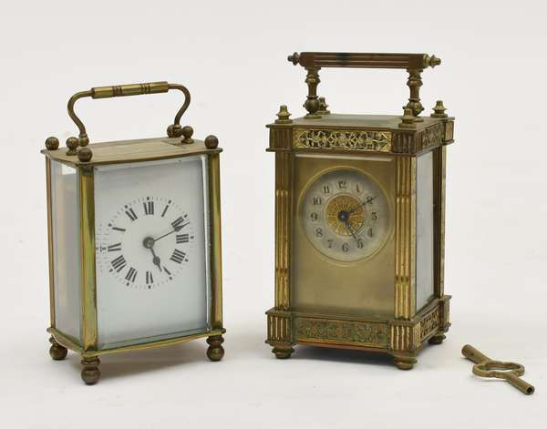 Two brass and glass carriage clocks (650-17)