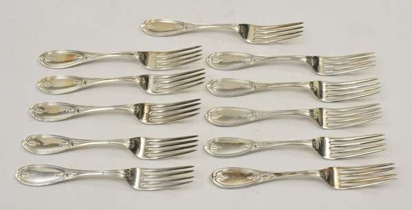 Set of 11 925 silver forks, approx. 15 T.oz weighable silver (678-7)