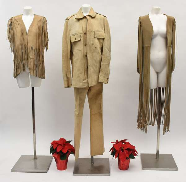 Men's suede jacket and pants and two   leather vests with fringe (737-14)