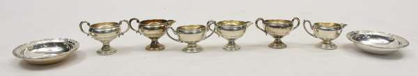 Three sets of sterling silver creamer and sugars along with two sterling bowls (678-13)