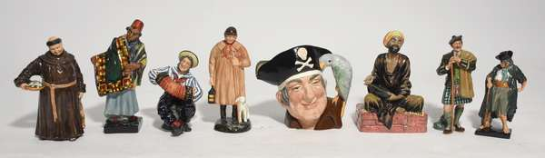 """Collection of seven Royal Doulton figures inc Toby jug """"Long John Silver"""", 7""""H., """"The Jovial Monk"""", 8""""H., """"The Shepard"""", 9""""H., """"The Beggar"""", 7""""H., """"The Laird"""", 8""""H., """"Jolly Sailor"""", 7""""H., """"Mendieant"""", 8.5""""H., and the """"Carpet Seller"""", 9.5""""H. (60-250)"""