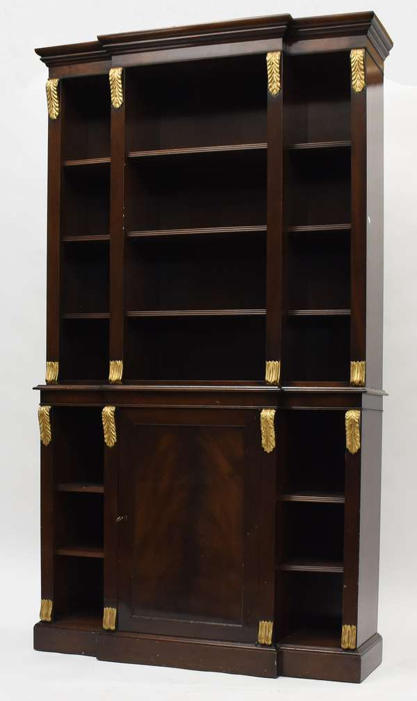 """Small size solid mahogany open front breakfront bookcase with parcel gilt acanthus carvings, with key and adjustable shelves, 44""""L. x 78""""H. x 12""""D. (77-421)"""