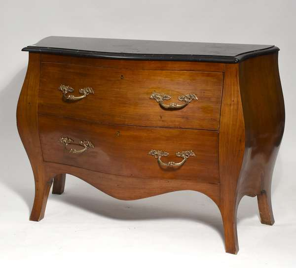 """Decorative French style black marble top 2 drawer commode by Bloomingdale's, 31""""H. x 41""""W. (77-423)"""