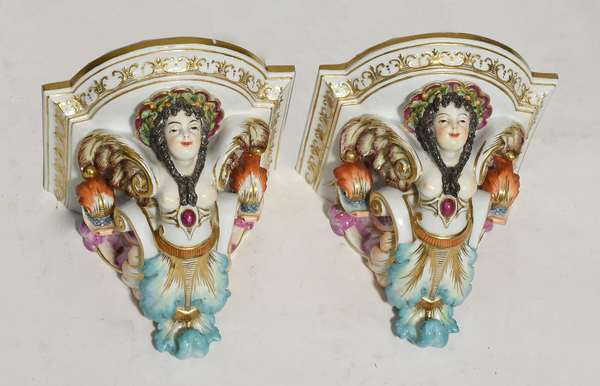 """Pair of 19th C. Porcelain wall brackets signed KPM, 6""""H. x 6.5""""W. (77-434)"""