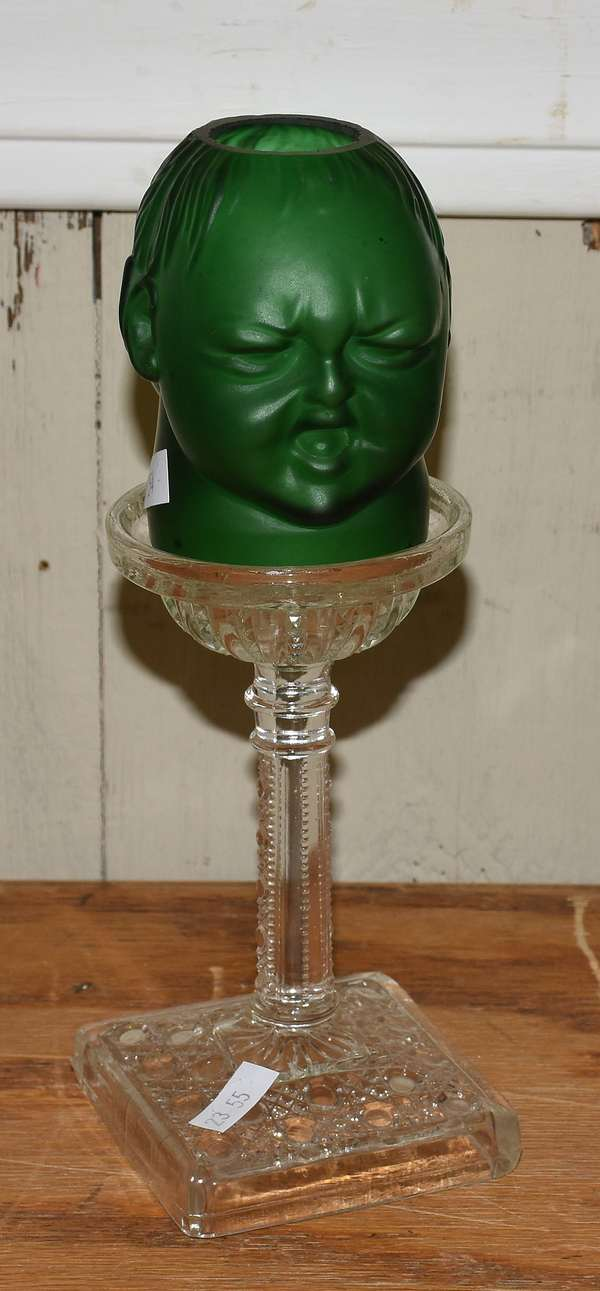 Art glass double face shade on a pressed glass base- rare example (23-55)