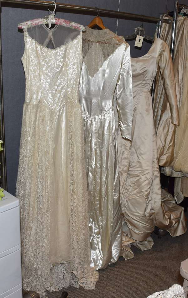 Lot of three antique lace and silk wedding dresses (23-200)