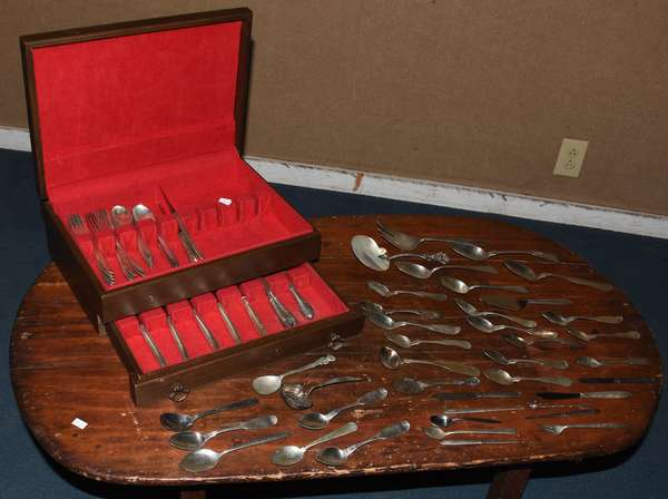 Flatware set, sterling and coin silver (117-9)