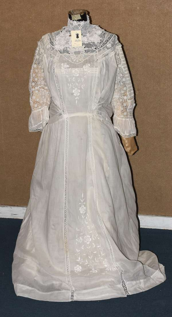 Antique dress form, including antique lace dress (23-205)