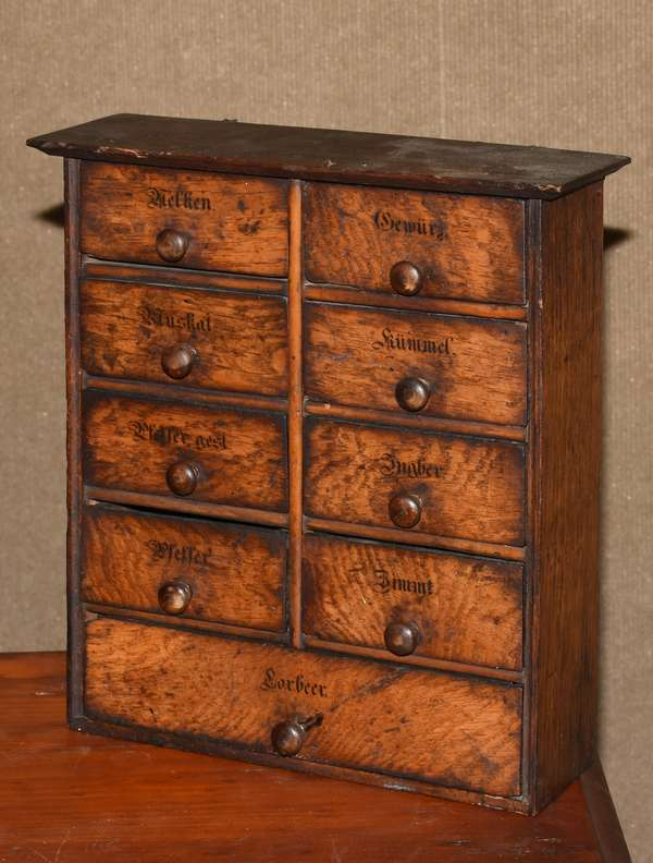 "Nine drawer spice cabinet, 12""H. x 10""W. (117-25)"