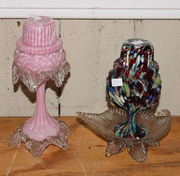 Two art glass miniature lamps (23-54)
