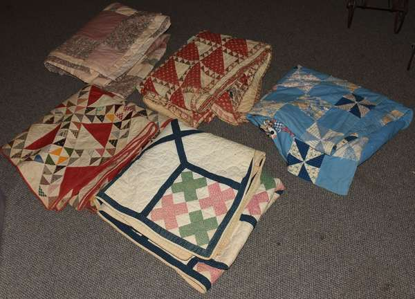 Five antique quilts and coverlets (23-206)