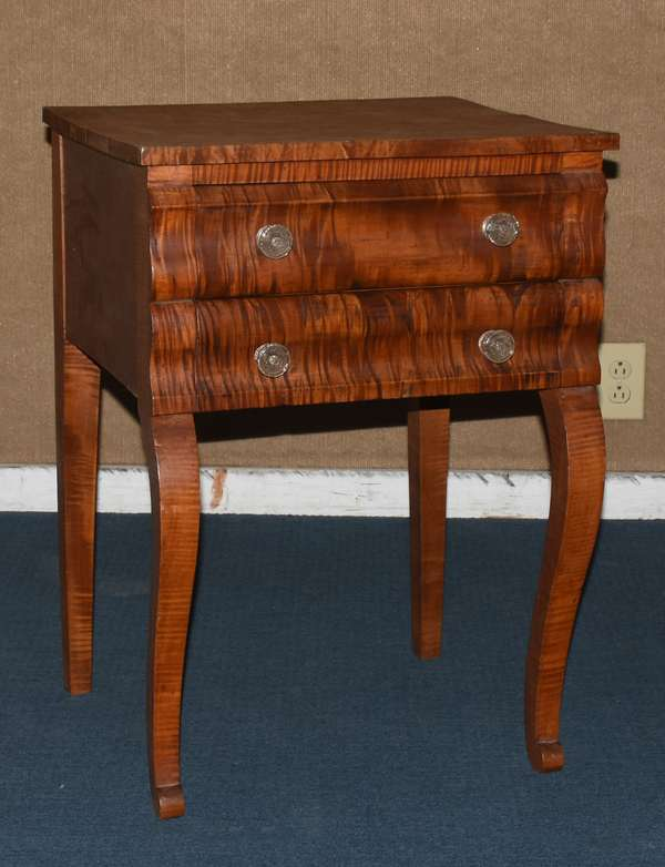 """Figural maple two drawer stand on cabriole leg, 29""""H. (117-3)"""
