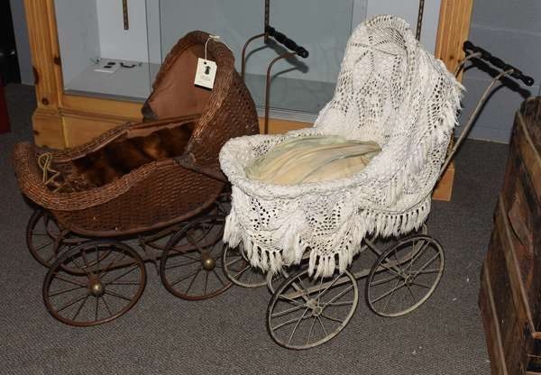 Two antique wicker doll prams (23-207)