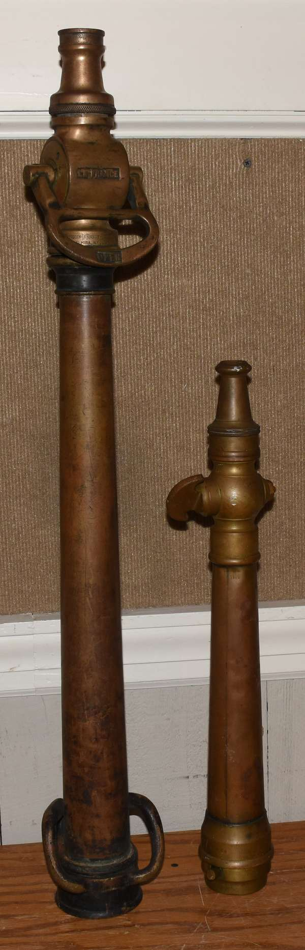 """Two brass nozzles, one """"American La France"""", 22""""L. and 34"""" (23-7)"""