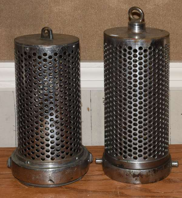 """Two interior water screens-fire related, 14"""" and 15""""L. (23-8)"""