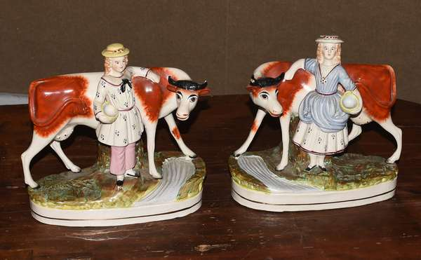 """Pair of Staffordshire cow figures, 9""""L. x 8""""H. (117-7)"""