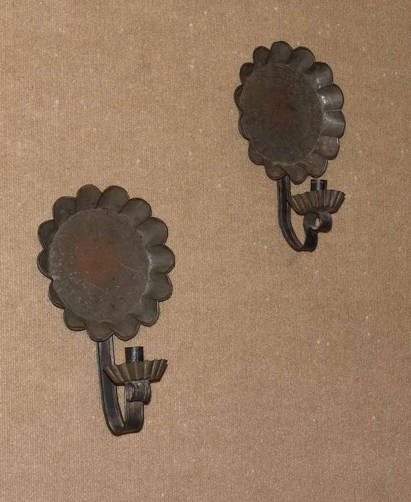 """Pair of shaped tin wall sconces, 19th C. or before, 13""""H. (117-8)"""
