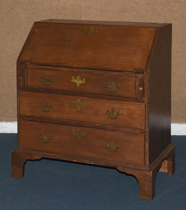 """Child's size Chippendale pine slant lid desk with fitted interior, three drawers on bracket base, 24""""W. x 29""""L. x 14"""" (117-10)"""