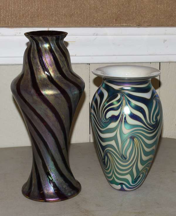 """Two 20th C. art glass vases, 9"""" and 13""""H. (23-103)"""