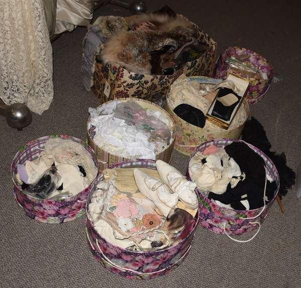 Lot of antique gloves, stockings, fur stoles, shoes, etc. (23-210)