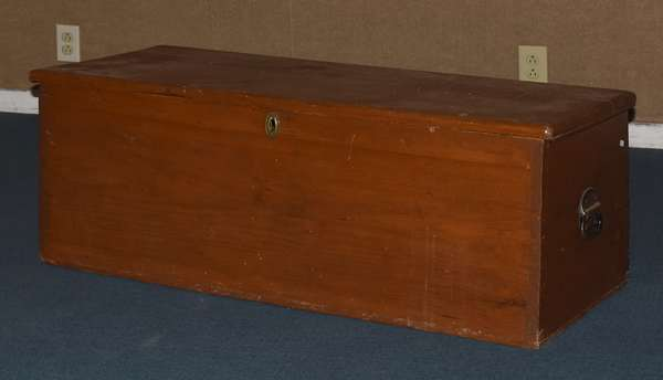 """Country pine canted sea chest with till, 16""""H. x 44""""W. x 16""""D. (117-17)"""