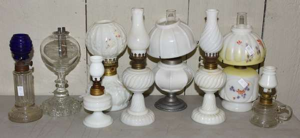 """Nine miniature lamps, 5"""" and 9""""H. (23-109)"""