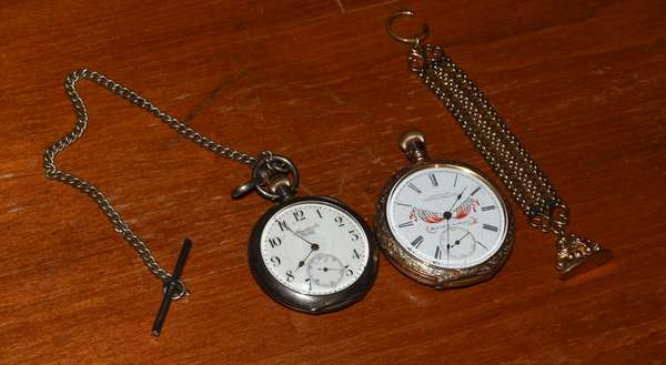 Two pocket watches- gold filled Waltham Watch Co., along with silver pocket watch Abrecht and Co. (117-22)