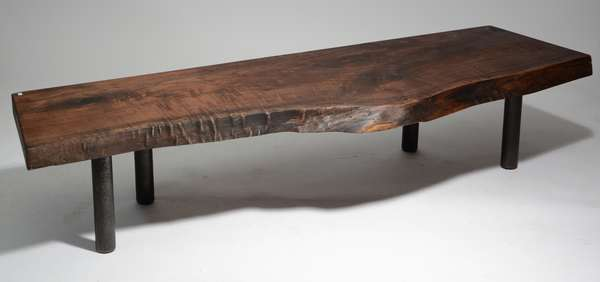 """The Bull Dog Bench, an original design made by Scott Gordon of Vermontica, weathered and aged walnut live edge slab fixed with offset tubular steel legs, 78""""L. x 25""""W. x 17""""H., branded signature"""