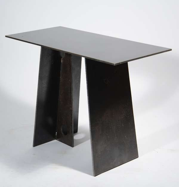 """The Bridge Console, an original design by Scott Gordon of Vermontica, a contemporary minimalist blackened steel console constructed with weathered 3/8"""" steel plate which was originally designated for a Seattle area bridge. 30"""" high x 18"""" wide x 39"""" long. Exhibited at NY's 2016 Architectural Digest show. Labeled"""