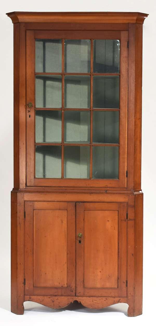 """Two-part Federal cherry corner cupboard with twelve light glass door top, ca. 1820, 88""""H. x 38""""W."""