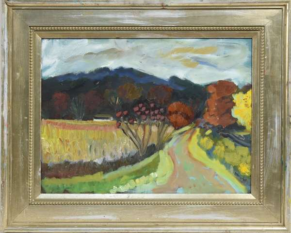 "Oil on canvas by Vermont artist Ken Blaisdell, impressionist landscape of White River Junction, VT, 18"" x 24"", signed"