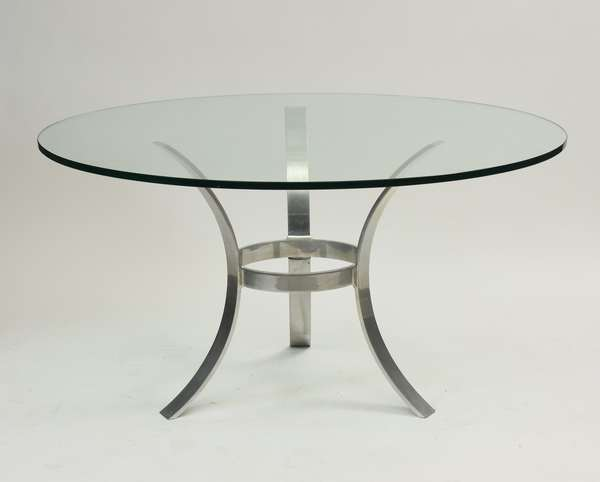 """John Vesey modernist table with aluminum base and glass top, 54""""Dia. x 30""""H.  (Purchased in 1969 from gallery)"""