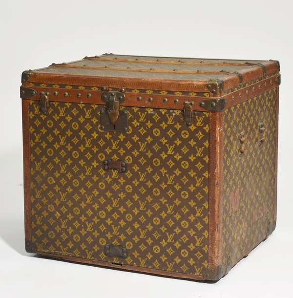 """Antique Louis Vuitton small size trunk in excellent condition, with interior tray and hamper, #190063, 24""""L. x 18.5""""W. x 21""""H."""