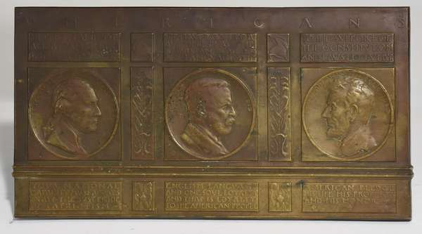 """Bronze plaque by Charles Tefft (New York, 1874 - 1950) """"Americans"""" featuring Washington, Roosevelt and Lincoln with excerpts from their famous speeches, signed lower left, 11.5"""" x 22.5"""""""