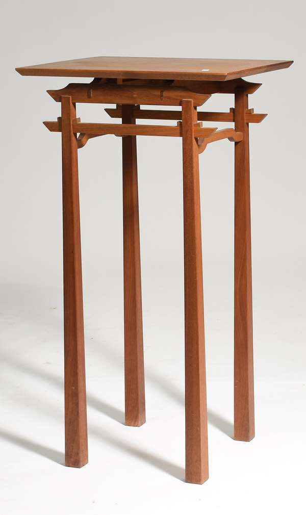 """Asian inspired tall stand, purchased in 1980's, 31.5""""H. x 13.5"""" x 15.5"""""""