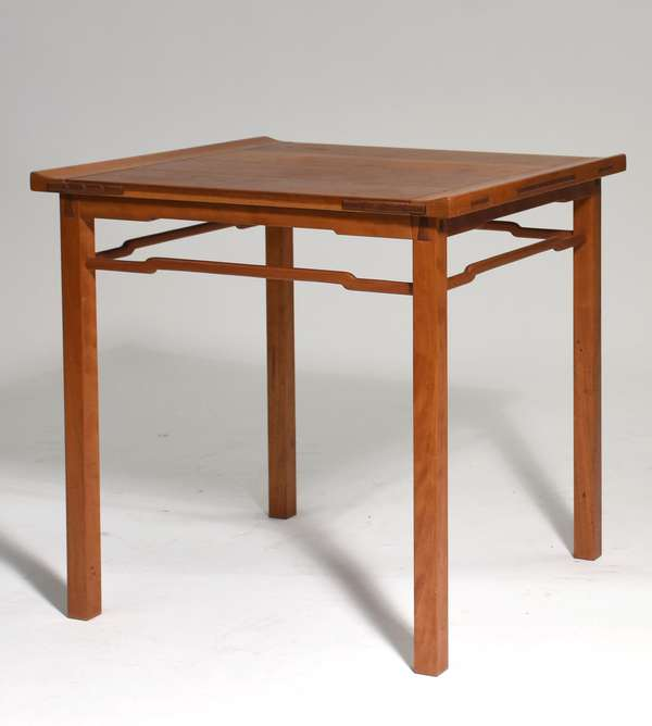 """Asian inspired cherry low stand, 21""""H. x 21""""L. x 20""""W."""