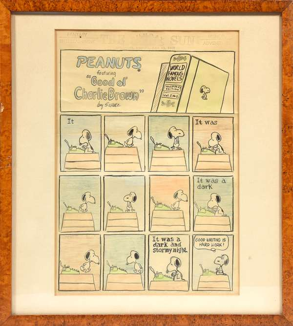 """Highly unusual Peanuts cartoon by Charles Schulz, for The Sun, Baltimore, July 13, 1969, with U.S. Patent Office 1969 stamp from editor David Allison estate, Allison and Shultz knew each other through their years in printing, per family, 13"""" x 9.5""""- see image of the original printing from the archives of the Sun paper"""
