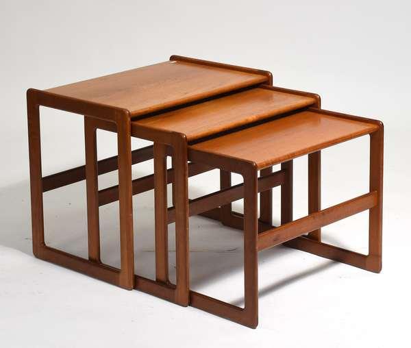 "Set of Danish modern labeled teak nesting tables, Mogens-Kold, 22.5""L. x 19""H. x 15""W."