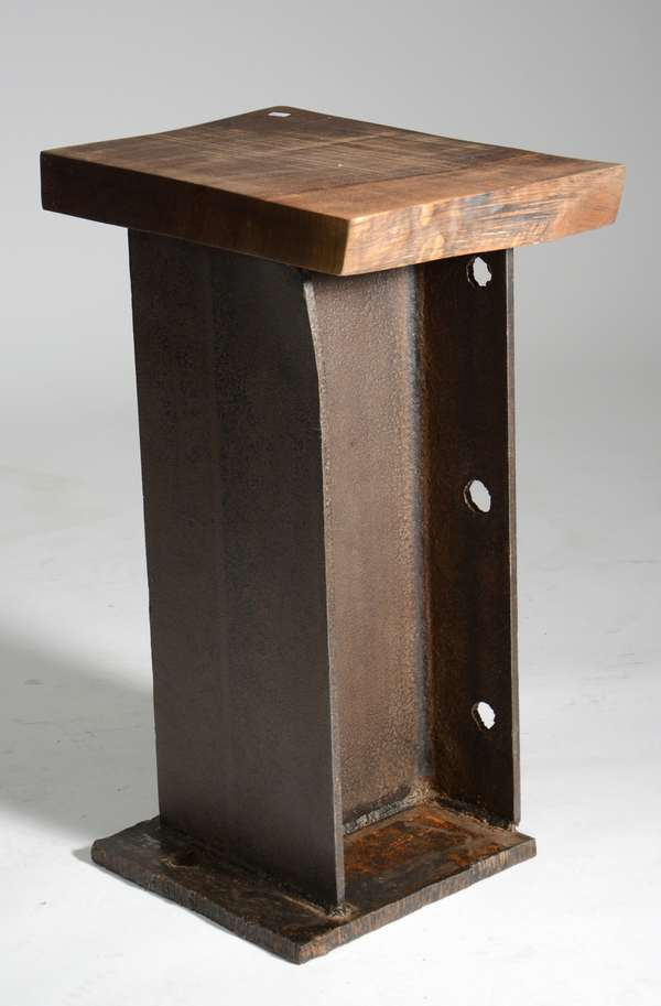 """The Toad Table an original design by Scott Gordon of Vermontica, constructed with live edge walnut slab top and reclaimed vertical steel pedestal, 27""""H. x 19""""W. x 12.5""""D."""