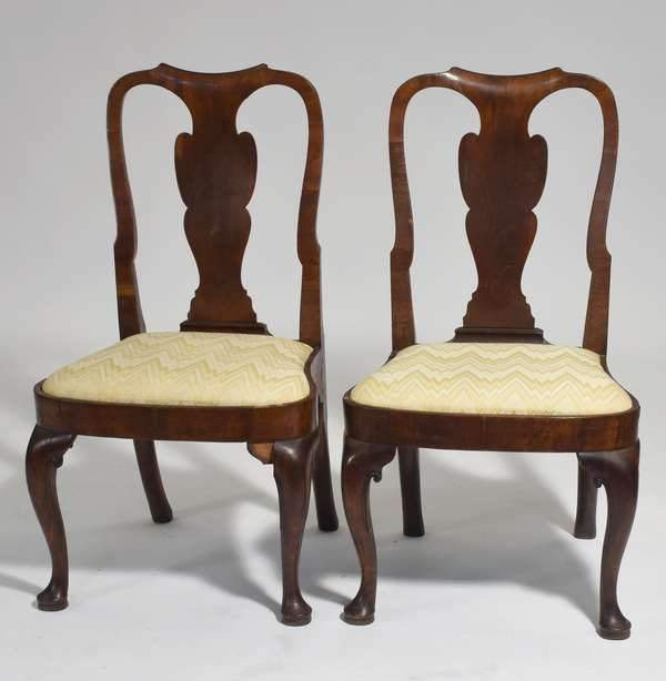 """Pair of English Queen Anne walnut side chairs with splat backs, ca.1760, purchased in London in 1965, 16.5"""" seat height x 38""""H. overall"""