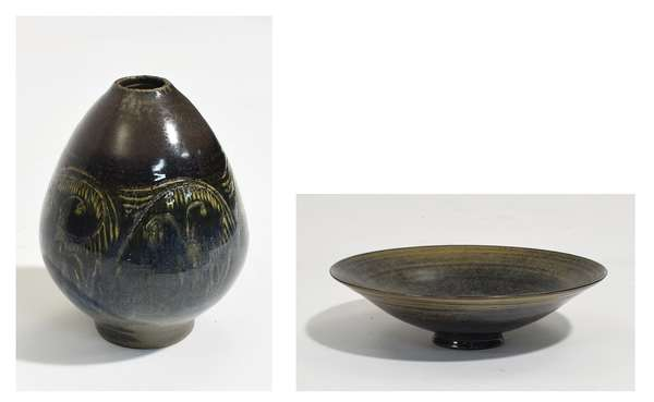 """Scheier pottery vase with inscribed abstract faces, in blue/ green glaze, signed on bottom, 5.5""""H. x 4"""" dia., along with a small shallow bowl, in blue/ brown glaze, signed on bottom, 7"""" dia. x 2""""H. (65-6,7)"""