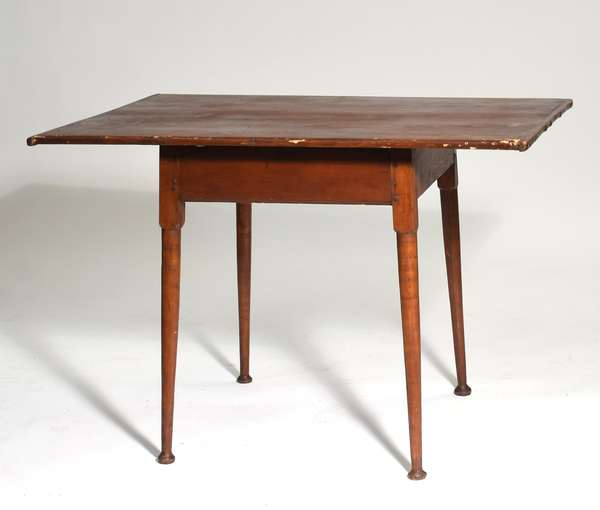 """18th C. button foot tavern table, with old color and bread board ends, 26""""W. x 40""""L. x 27.5""""H."""