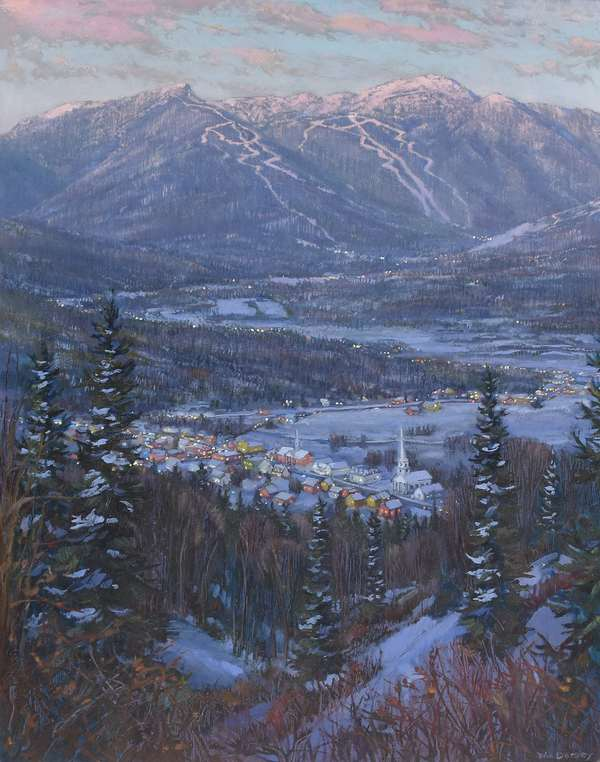 """Wonderful oil on board of Stowe, Vermont at twilight, with view of Mt. Mansfield in background, signed lower right, Wm. Dorsey, 27.5"""" x 22"""""""